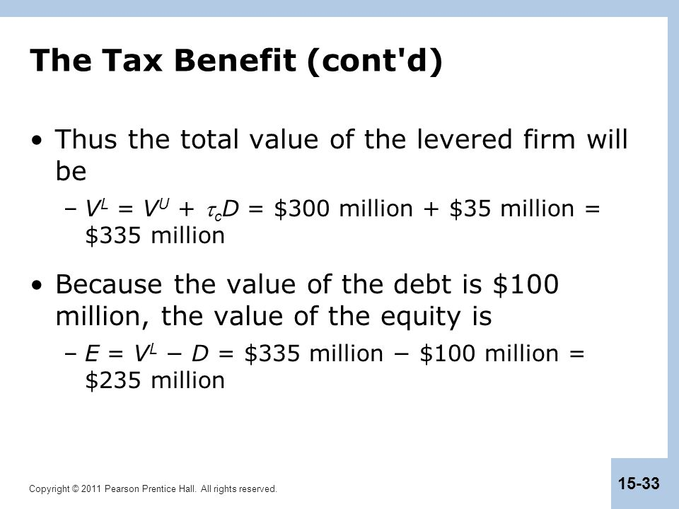 Copyright © 2011 Pearson Prentice Hall. All rights reserved. 15-33 The Tax Benefit (cont'd) Thus the total value of the levered firm will be –V L = V