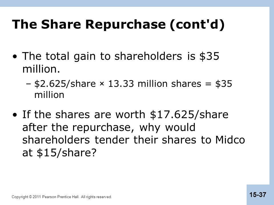 Copyright © 2011 Pearson Prentice Hall. All rights reserved. 15-37 The Share Repurchase (cont'd) The total gain to shareholders is $35 million. –$2.62