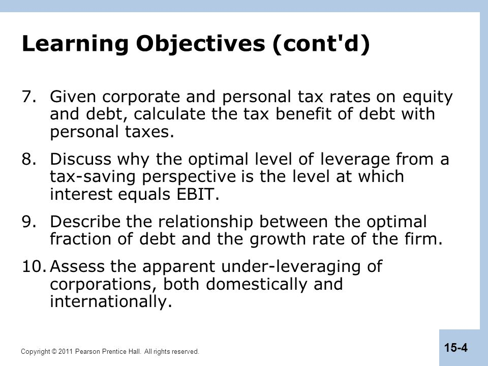 Copyright © 2011 Pearson Prentice Hall. All rights reserved. 15-4 Learning Objectives (cont'd) 7.Given corporate and personal tax rates on equity and