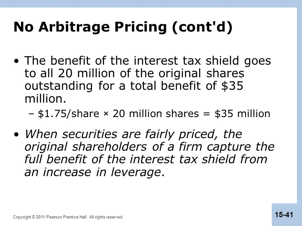 Copyright © 2011 Pearson Prentice Hall. All rights reserved. 15-41 No Arbitrage Pricing (cont'd) The benefit of the interest tax shield goes to all 20