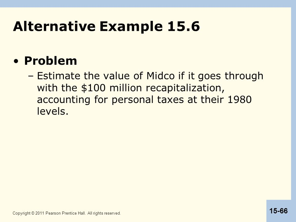 Copyright © 2011 Pearson Prentice Hall. All rights reserved. 15-66 Alternative Example 15.6 Problem –Estimate the value of Midco if it goes through wi