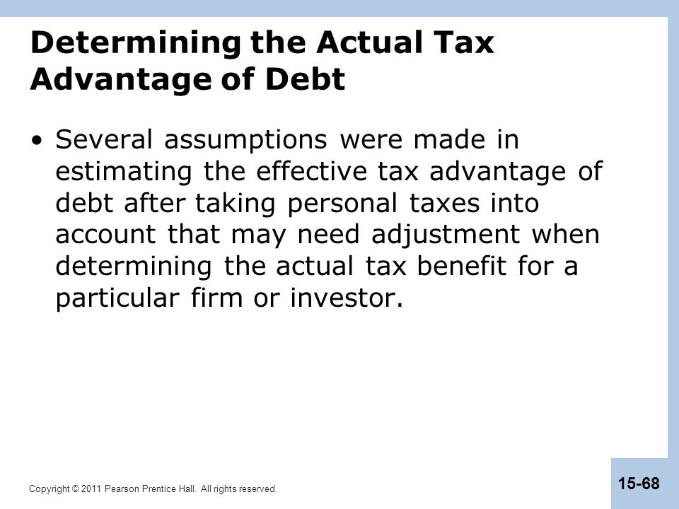 Copyright © 2011 Pearson Prentice Hall. All rights reserved. 15-68 Determining the Actual Tax Advantage of Debt Several assumptions were made in estim