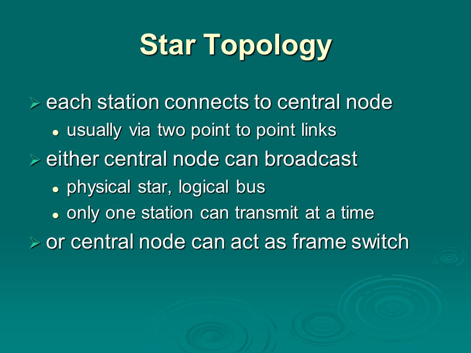 Star Topology  each station connects to central node usually via two point to point links usually via two point to point links  either central node
