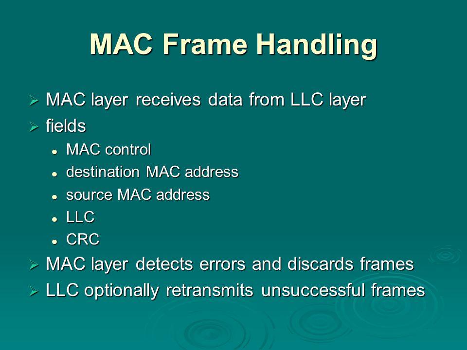 MAC Frame Handling  MAC layer receives data from LLC layer  fields MAC control MAC control destination MAC address destination MAC address source MA
