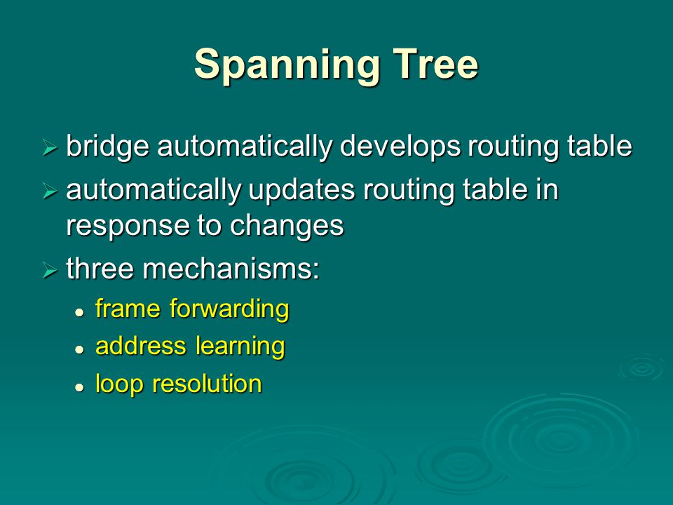Spanning Tree  bridge automatically develops routing table  automatically updates routing table in response to changes  three mechanisms: frame for