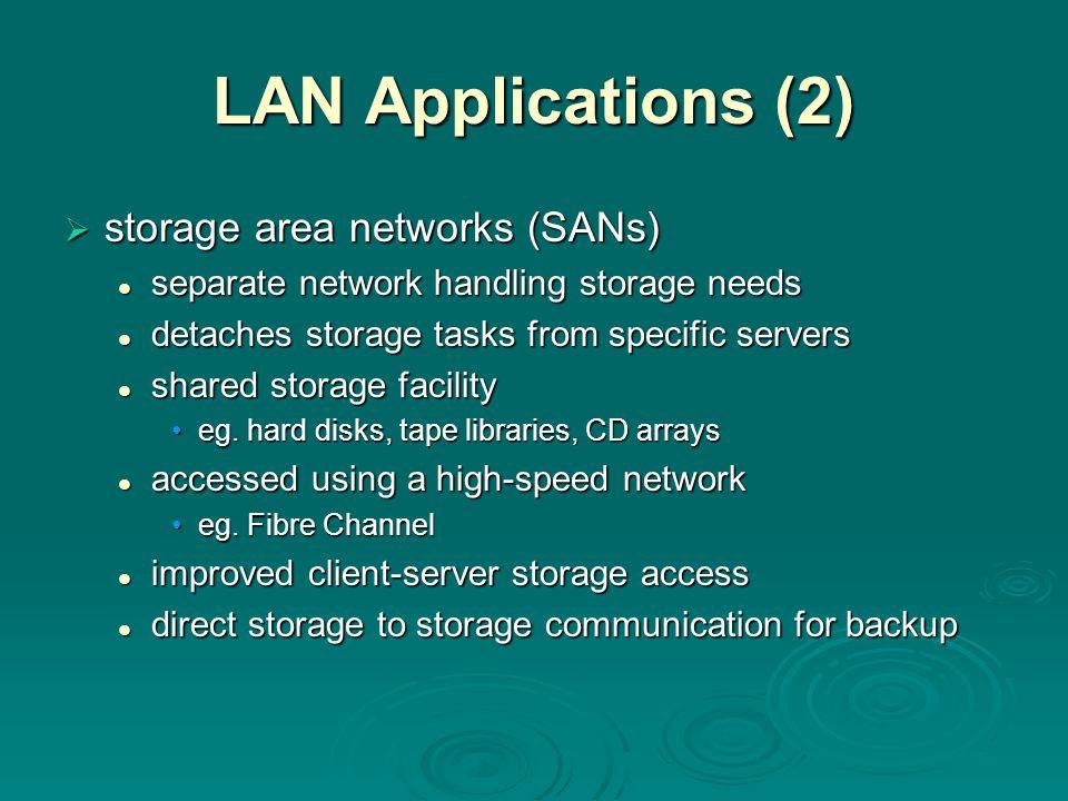 LAN Applications (2)  storage area networks (SANs) separate network handling storage needs separate network handling storage needs detaches storage t