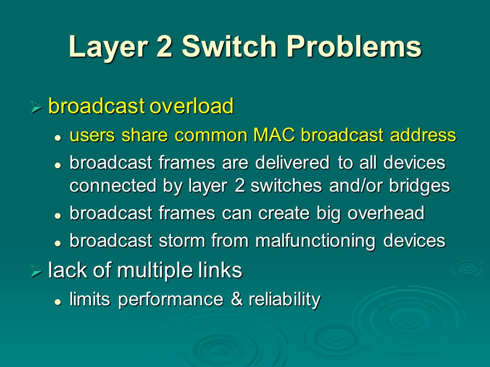Layer 2 Switch Problems  broadcast overload users share common MAC broadcast address users share common MAC broadcast address broadcast frames are de