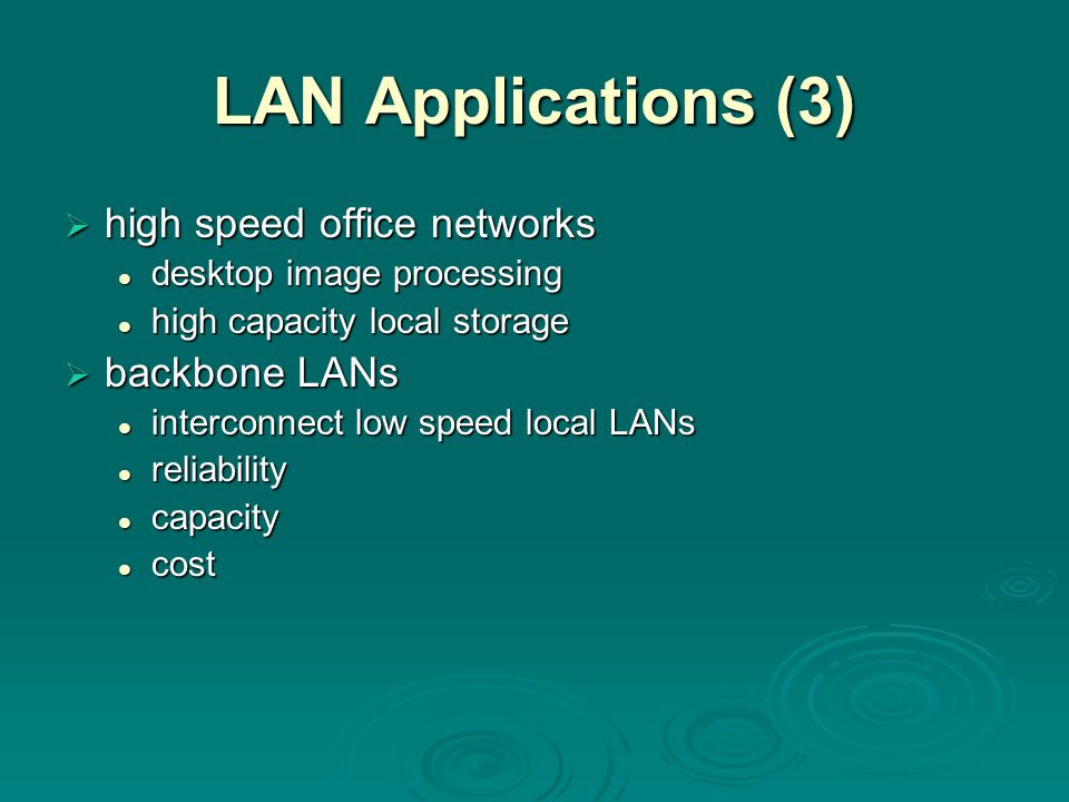 LAN Applications (3)  high speed office networks desktop image processing desktop image processing high capacity local storage high capacity local st