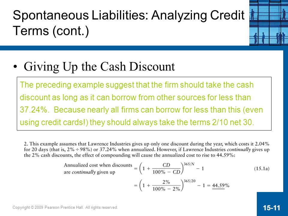 Copyright © 2009 Pearson Prentice Hall. All rights reserved. 15-11 Giving Up the Cash Discount Spontaneous Liabilities: Analyzing Credit Terms (cont.)