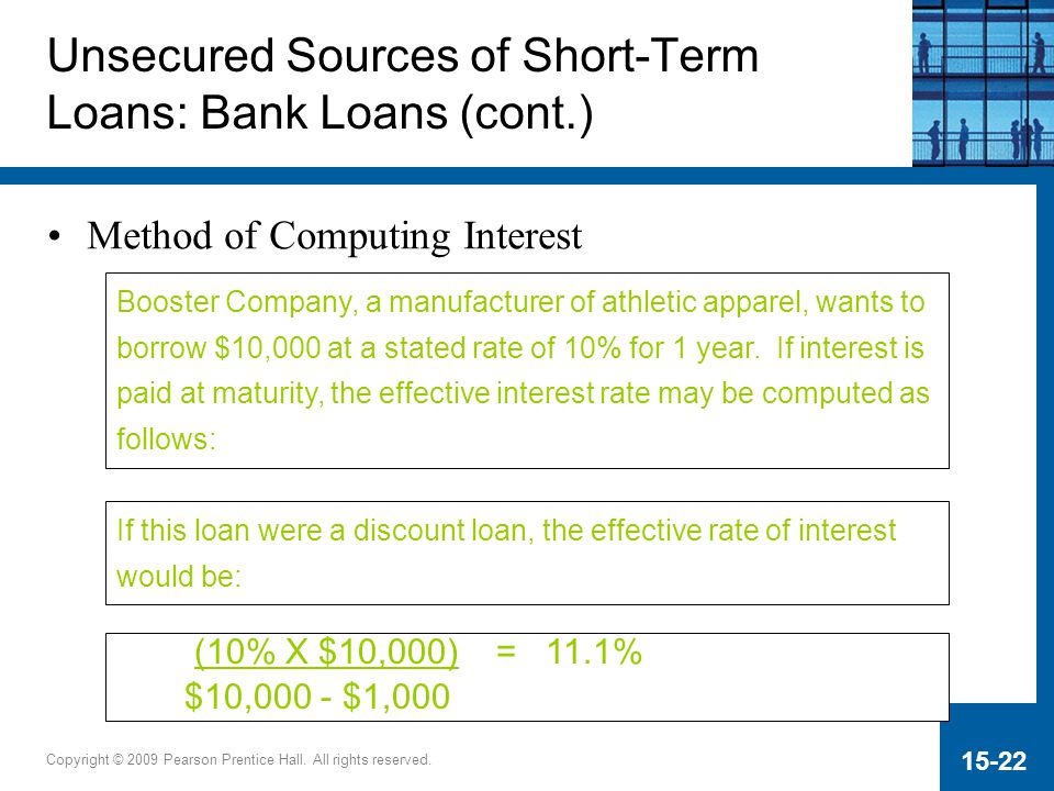 Copyright © 2009 Pearson Prentice Hall. All rights reserved. 15-22 Unsecured Sources of Short-Term Loans: Bank Loans (cont.) Method of Computing Inter
