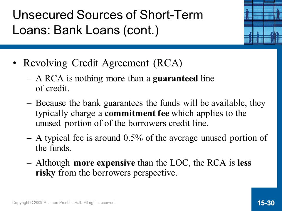 Copyright © 2009 Pearson Prentice Hall. All rights reserved. 15-30 Unsecured Sources of Short-Term Loans: Bank Loans (cont.) Revolving Credit Agreemen