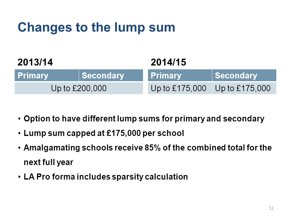 Changes to the lump sum 2013/14 PrimarySecondary Up to £200,000 2014/15 PrimarySecondary Up to £175,000 Option to have different lump sums for primary and secondary Lump sum capped at £175,000 per school Amalgamating schools receive 85% of the combined total for the next full year LA Pro forma includes sparsity calculation 12