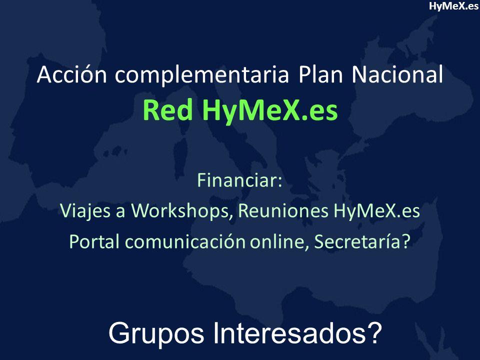 Acción complementaria Plan Nacional Red HyMeX.es Financiar: Viajes a Workshops, Reuniones HyMeX.es Portal comunicación online, Secretaría.