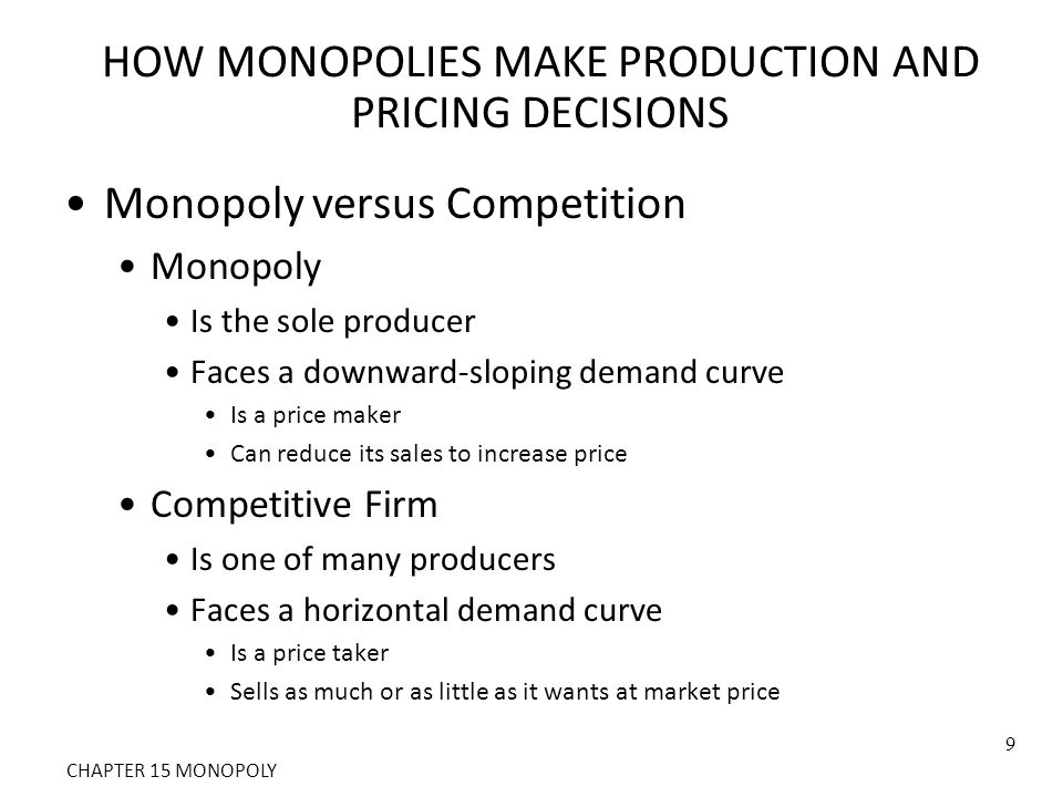 Figure 2 Demand Curves for Competitive and Monopoly Firms Quantity of Output Demand (a) A Competitive Firm's Demand Curve(b) A Monopolist's Demand Curve 0 Price Quantity of Output 0 Price Demand See Ch.