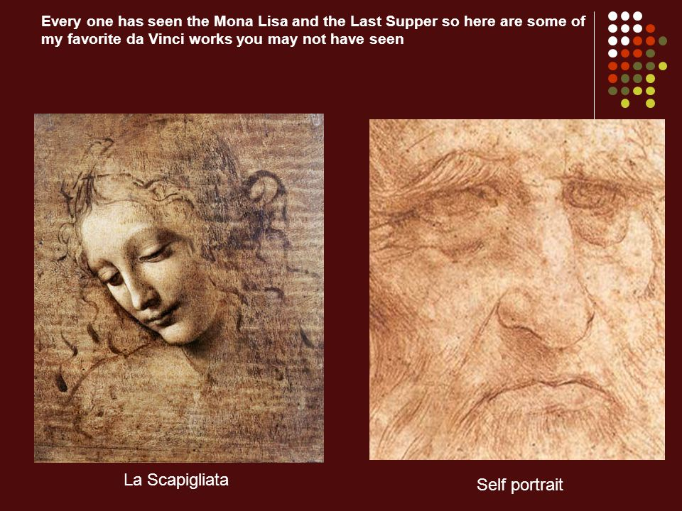 Every one has seen the Mona Lisa and the Last Supper so here are some of my favorite da Vinci works you may not have seen La Scapigliata Self portrait