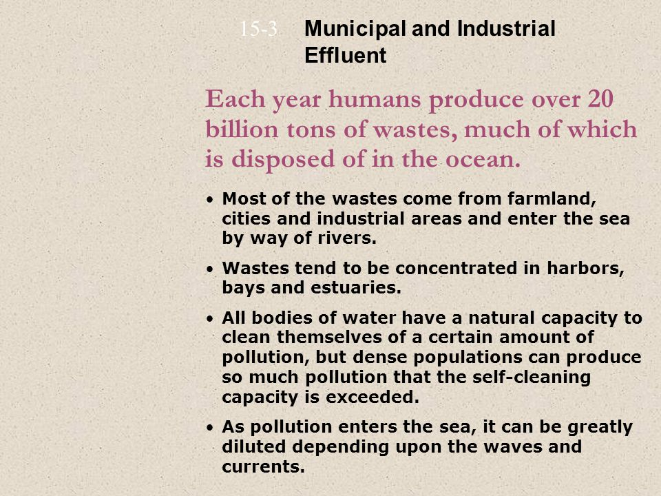 Each year humans produce over 20 billion tons of wastes, much of which is disposed of in the ocean. Most of the wastes come from farmland, cities and