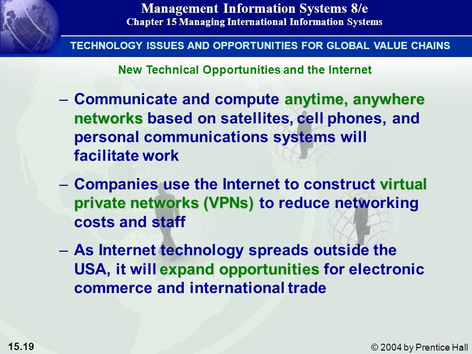 15.19 © 2004 by Prentice Hall Management Information Systems 8/e Chapter 15 Managing International Information Systems anytime, anywhere networks –Communicate and compute anytime, anywhere networks based on satellites, cell phones, and personal communications systems will facilitate work virtual private networks (VPNs) –Companies use the Internet to construct virtual private networks (VPNs) to reduce networking costs and staff expand opportunities –As Internet technology spreads outside the USA, it will expand opportunities for electronic commerce and international trade TECHNOLOGY ISSUES AND OPPORTUNITIES FOR GLOBAL VALUE CHAINS New Technical Opportunities and the Internet