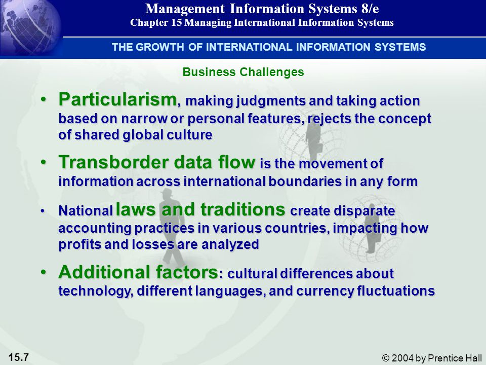 15.7 © 2004 by Prentice Hall Management Information Systems 8/e Chapter 15 Managing International Information Systems Business Challenges THE GROWTH OF INTERNATIONAL INFORMATION SYSTEMS Particularism, making judgments and taking action based on narrow or personal features, rejects the concept of shared global cultureParticularism, making judgments and taking action based on narrow or personal features, rejects the concept of shared global culture Transborder data flow is the movement of information across international boundaries in any formTransborder data flow is the movement of information across international boundaries in any form National laws and traditions create disparate accounting practices in various countries, impacting how profits and losses are analyzedNational laws and traditions create disparate accounting practices in various countries, impacting how profits and losses are analyzed Additional factors : cultural differences about technology, different languages, and currency fluctuationsAdditional factors : cultural differences about technology, different languages, and currency fluctuations