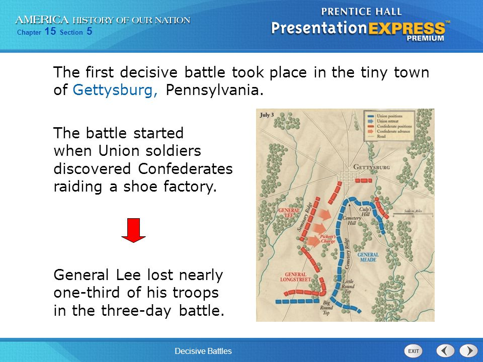 Chapter 15 Section 5 Decisive Battles The South also suffered a major loss in Vicksburg.