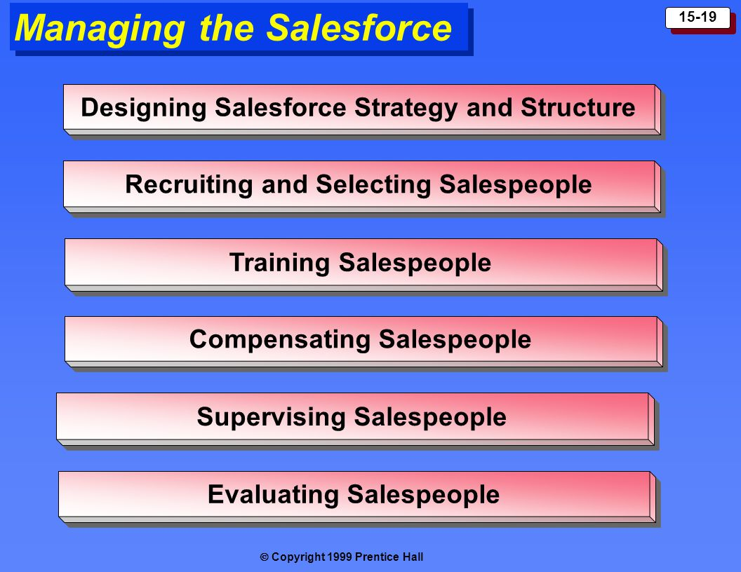  Copyright 1999 Prentice Hall 15-19 Managing the Salesforce Designing Salesforce Strategy and Structure Recruiting and Selecting Salespeople Training Salespeople Compensating Salespeople Supervising Salespeople Evaluating Salespeople