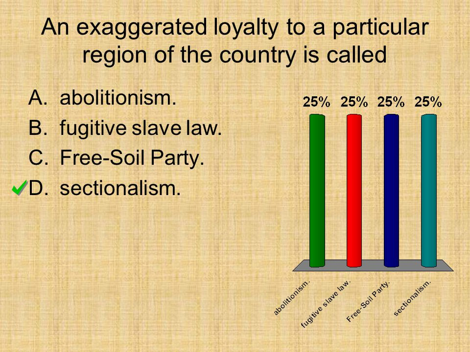 An exaggerated loyalty to a particular region of the country is called A.abolitionism. B.fugitive slave law. C.Free-Soil Party. D.sectionalism.