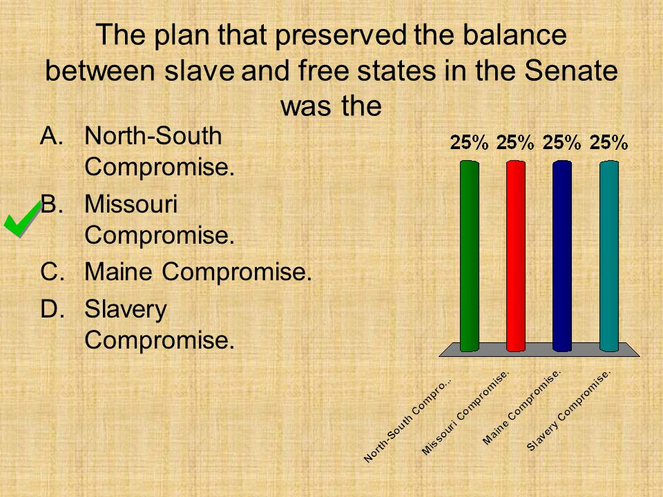 The plan that preserved the balance between slave and free states in the Senate was the A.North-South Compromise. B.Missouri Compromise. C.Maine Compr