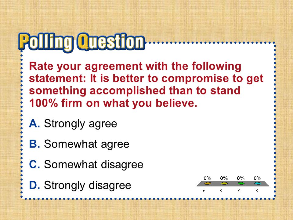 A.A B.B C.C D.D Section 1-Polling QuestionSection 1-Polling Question Rate your agreement with the following statement: It is better to compromise to g