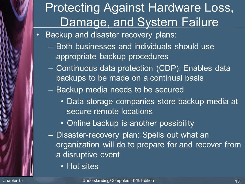 Chapter 15 Understanding Computers, 12th Edition 15 Protecting Against Hardware Loss, Damage, and System Failure Backup and disaster recovery plans: –