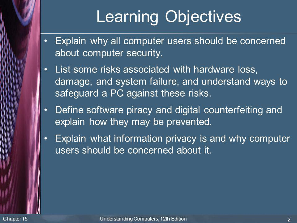 Chapter 15 Understanding Computers, 12th Edition 2 Learning Objectives Explain why all computer users should be concerned about computer security. Lis