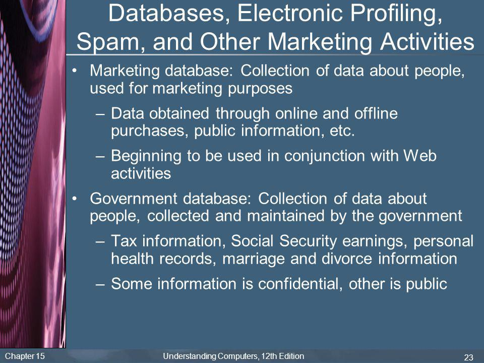 Chapter 15 Understanding Computers, 12th Edition 23 Databases, Electronic Profiling, Spam, and Other Marketing Activities Marketing database: Collecti
