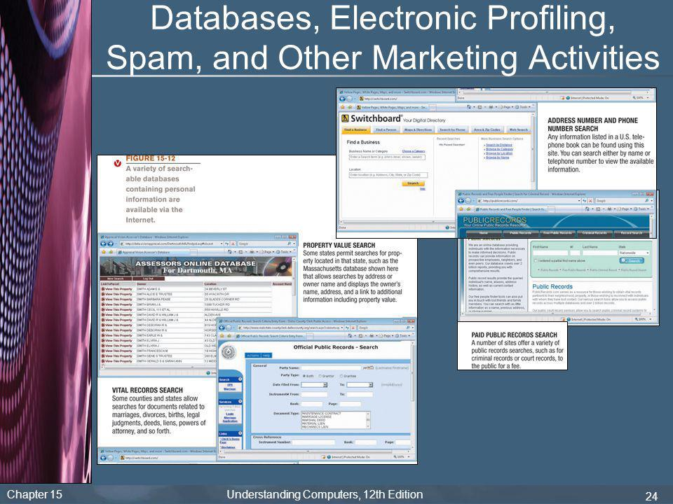Chapter 15 Understanding Computers, 12th Edition 24 Databases, Electronic Profiling, Spam, and Other Marketing Activities