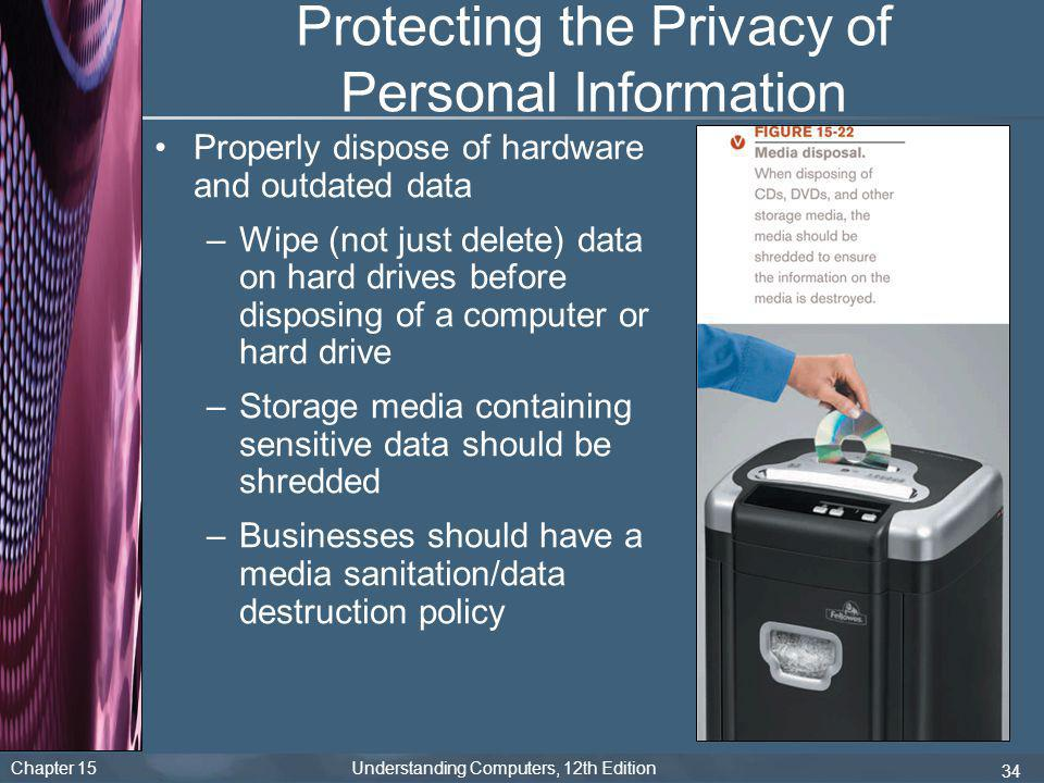 Chapter 15 Understanding Computers, 12th Edition 34 Protecting the Privacy of Personal Information Properly dispose of hardware and outdated data –Wip