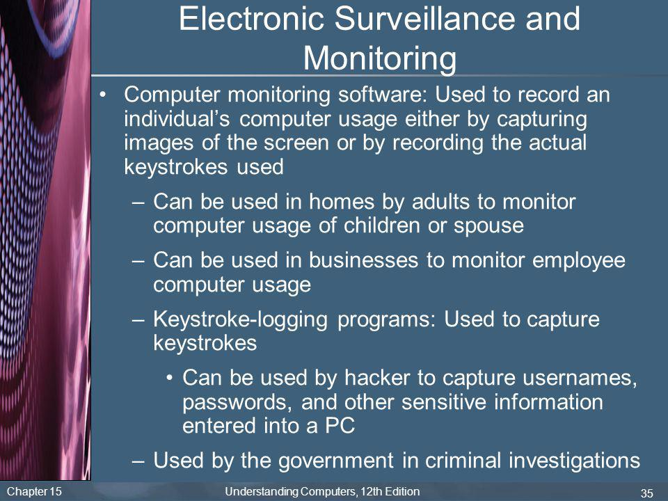 Chapter 15 Understanding Computers, 12th Edition 35 Electronic Surveillance and Monitoring Computer monitoring software: Used to record an individual'