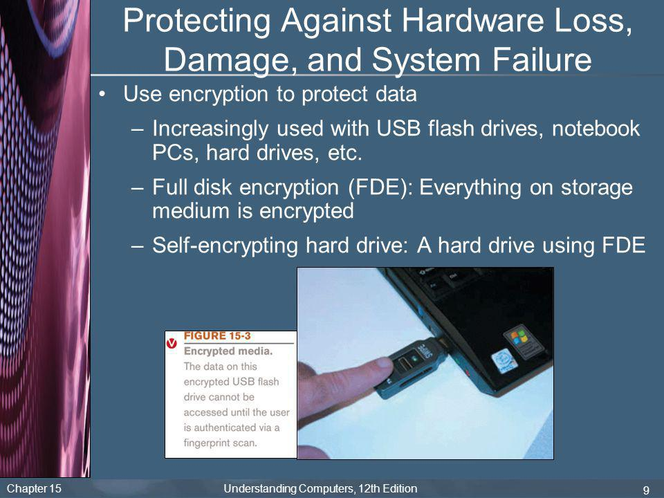 Chapter 15 Understanding Computers, 12th Edition 9 Protecting Against Hardware Loss, Damage, and System Failure Use encryption to protect data –Increa