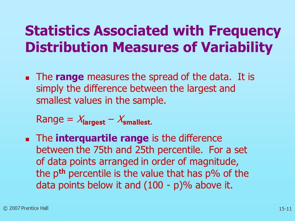 © 2007 Prentice Hall 15-11 The range measures the spread of the data. It is simply the difference between the largest and smallest values in the sampl