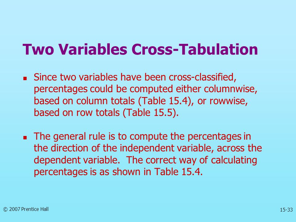 © 2007 Prentice Hall 15-33 Two Variables Cross-Tabulation Since two variables have been cross-classified, percentages could be computed either columnw