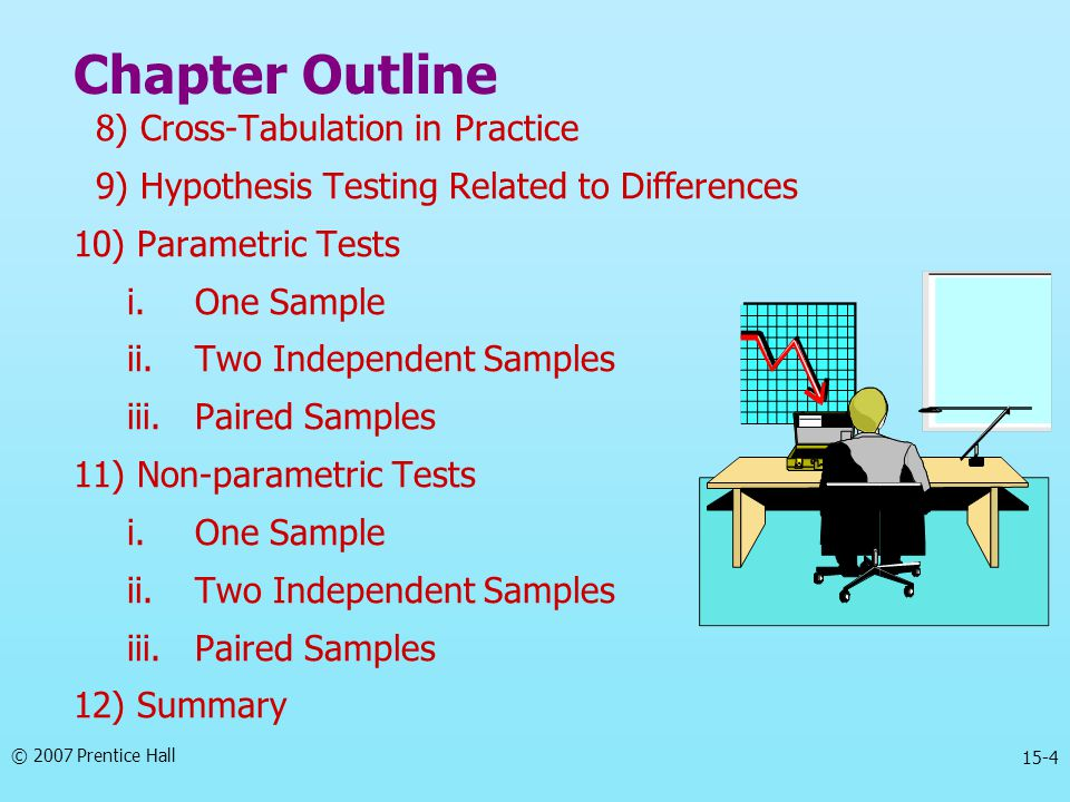 © 2007 Prentice Hall 15-4 Chapter Outline 8) Cross-Tabulation in Practice 9) Hypothesis Testing Related to Differences 10) Parametric Tests i.One Sample ii.Two Independent Samples iii.Paired Samples 11) Non-parametric Tests i.One Sample ii.Two Independent Samples iii.Paired Samples 12) Summary