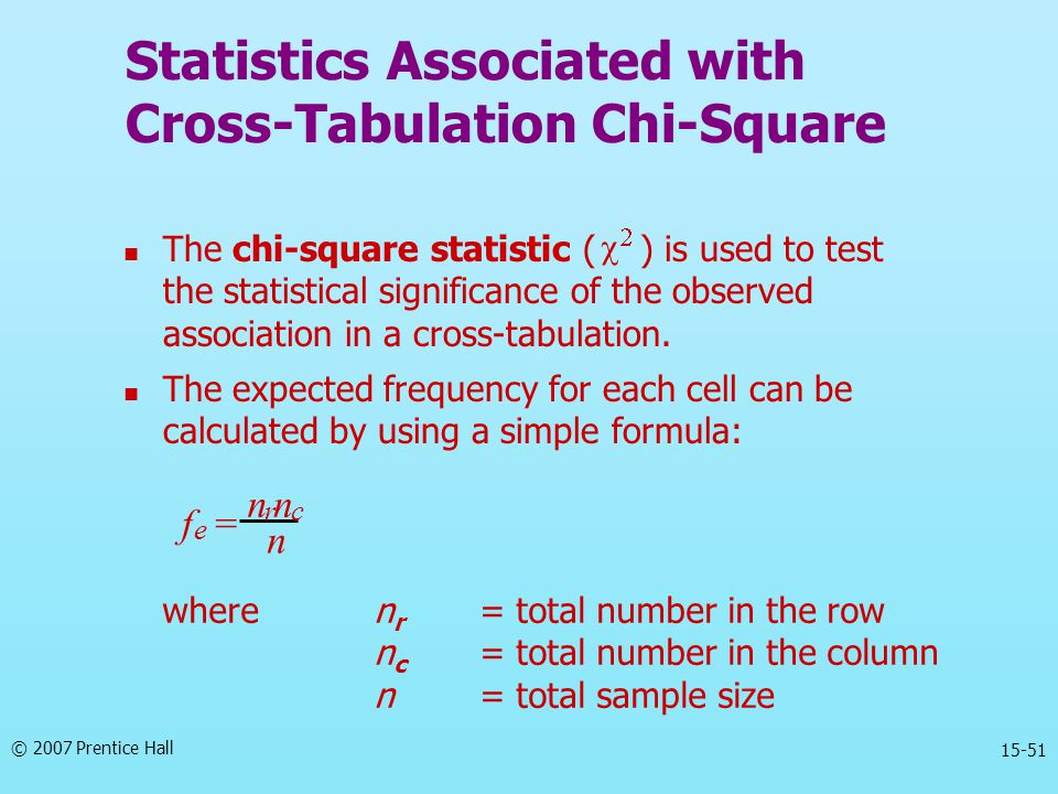 © 2007 Prentice Hall 15-51 Statistics Associated with Cross-Tabulation Chi-Square The chi-square statistic ( ) is used to test the statistical signifi
