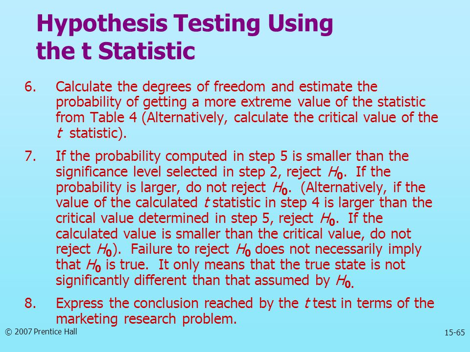 © 2007 Prentice Hall 15-65 6.Calculate the degrees of freedom and estimate the probability of getting a more extreme value of the statistic from Table 4 (Alternatively, calculate the critical value of the t statistic).