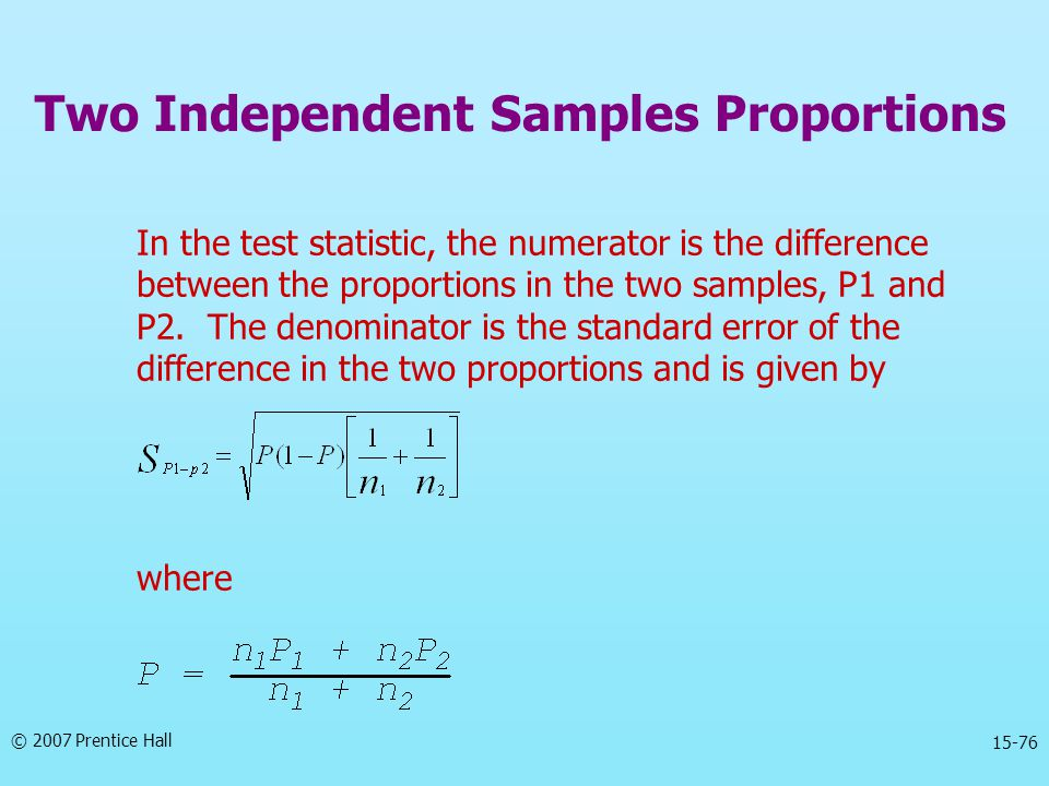 © 2007 Prentice Hall 15-76 In the test statistic, the numerator is the difference between the proportions in the two samples, P1 and P2. The denominat