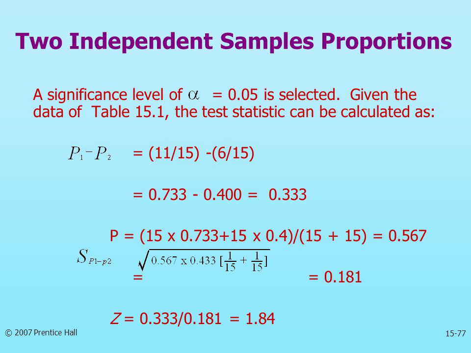 © 2007 Prentice Hall 15-77 A significance level of = 0.05 is selected.