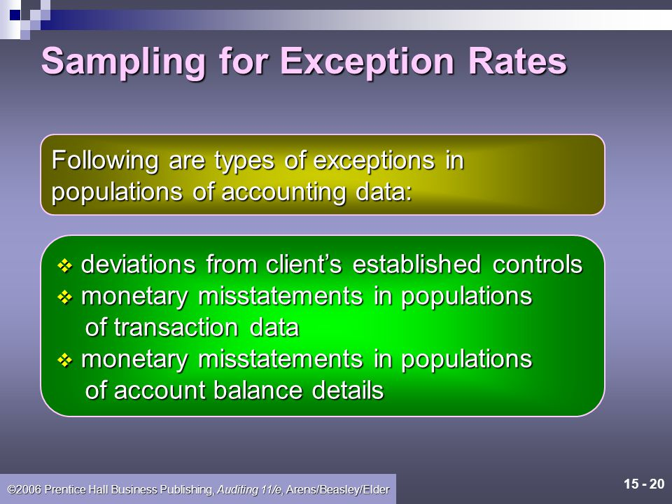 15 - 19 ©2006 Prentice Hall Business Publishing, Auditing 11/e, Arens/Beasley/Elder Sampling for Exception Rates The occurrence rate, or exception rate, is the ratio of the items containing the specific attribute to the total number of population items.