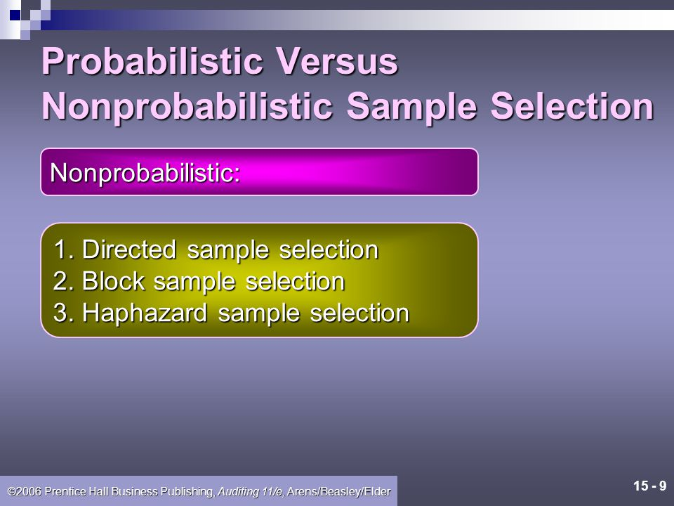 15 - 8 ©2006 Prentice Hall Business Publishing, Auditing 11/e, Arens/Beasley/Elder Probabilistic Versus Nonprobabilistic Sample Selection Probabilistic sample selection is a method of selecting a sample such that each population item has a known probability of being included in the sample.