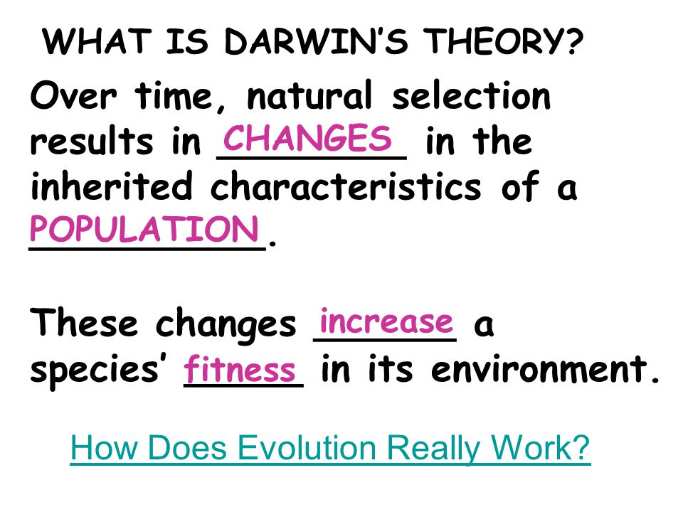 Over time, natural selection results in ________ in the inherited characteristics of a __________. These changes ______ a species' _____ in its enviro