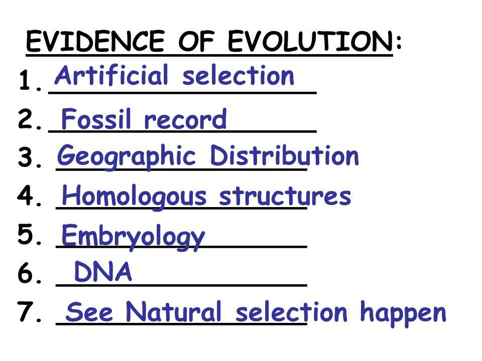 EVIDENCE OF EVOLUTION: 1.________________ 2.________________ 3. _______________ 4. _______________ 5. _______________ 6. _______________ 7. __________