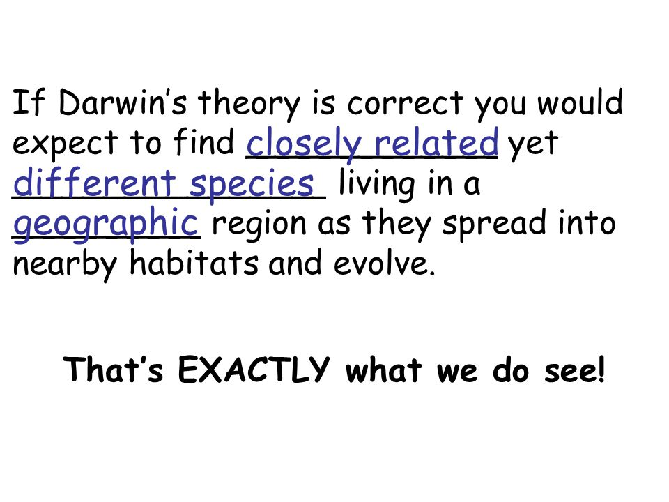 If Darwin's theory is correct you would expect to find ____________ yet _______________ living in a _________ region as they spread into nearby habita