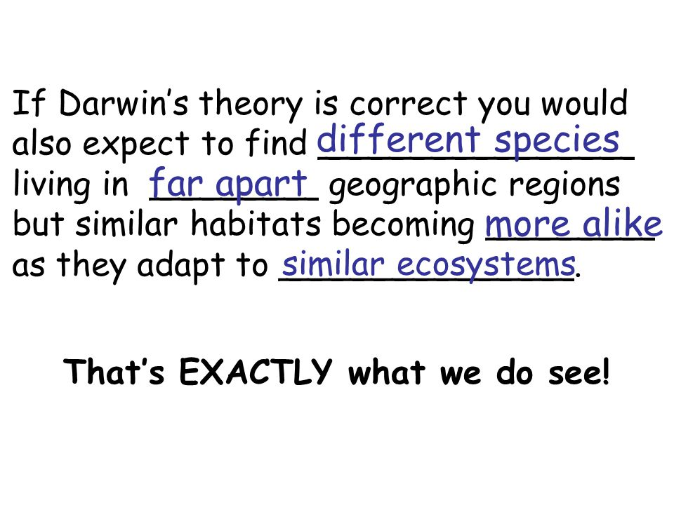 If Darwin's theory is correct you would also expect to find _______________ living in ________ geographic regions but similar habitats becoming ________ as they adapt to ______________.