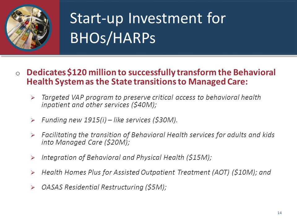 Start-up Investment for BHOs/HARPs o Dedicates $120 million to successfully transform the Behavioral Health System as the State transitions to Managed Care:  Targeted VAP program to preserve critical access to behavioral health inpatient and other services ($40M);  Funding new 1915(i) – like services ($30M).
