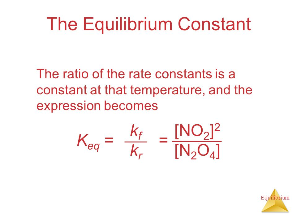 Equilibrium The Equilibrium Constant The ratio of the rate constants is a constant at that temperature, and the expression becomes K eq = kfkrkfkr [NO 2 ] 2 [N 2 O 4 ] =