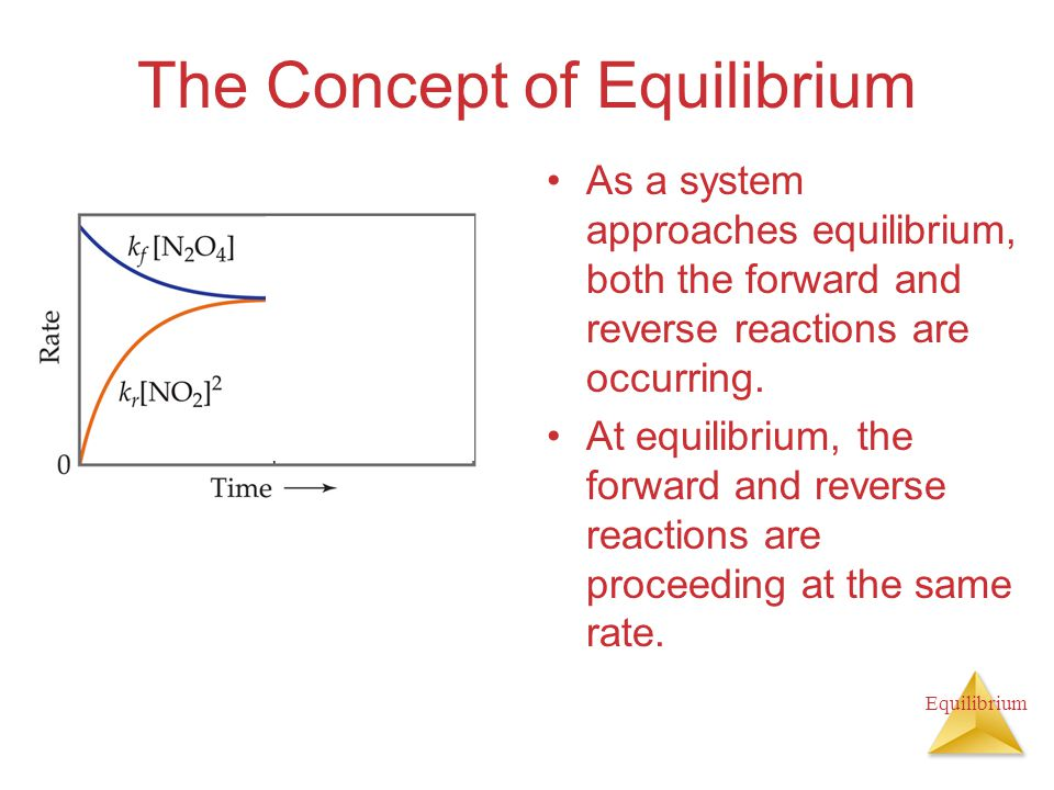 Equilibrium The Concept of Equilibrium As a system approaches equilibrium, both the forward and reverse reactions are occurring.